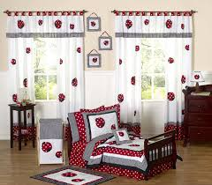 Geometric Crib Bedding by Black White Red Ladybug Toddler Girl Comforter Bedding 5pc Bed In