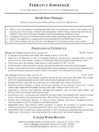 retail sales manager resume experience sales manager resume cover letter