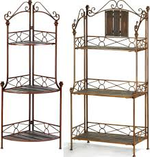 Bakers Rack Shelves 2 Pc Set Rustic Bakers Rack Shelf U0026 Rustic Corner Bakers Rack