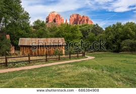 Cathedral Rock Reflections At Sunset Red Rock Crossing Sedona Arizona Cathedral Rock Red Rock Stock Photo 686384908