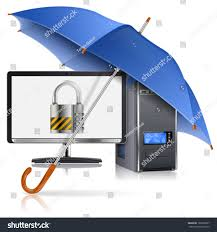 Offset Umbrella With Screen by Business Concept Umbrella Protects Computer Lock Stock Vector