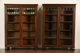 Arts Crafts Bookcase Sold Arts U0026 Crafts 1900 Antique Oak Bookcase Green Leaded Glass