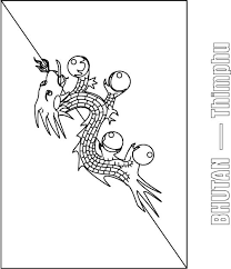 bhutan flag coloring page download free bhutan flag coloring