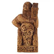 seated thor norse god statue wood finish celtic god paul borda
