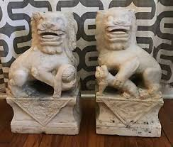 marble foo dogs 19th century white marble foo dogs shi dogs lions ebay