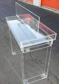 Acrylic Vanity Table Custom Acrylic Lucite Ghost Hinge Top Desk Table Vanity 48 X 18