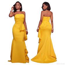 elegant party dresses yellow off shoulder strapless formal
