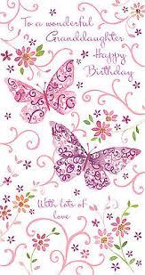 granddaughter birthday card glitter butterfly design size 9 00 x