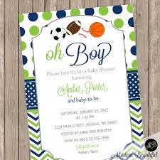 baby shower sports invitations oh boy sports theme baby shower invitation navy and lime green