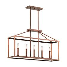 Kichler Lighting Kitchen Lighting by Shop Kichler Lighting Archibald 31 In W 5 Light Antique Copper