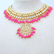 choker necklace pink images Kundan choker necklace set neon pink sahiba accessories jpg