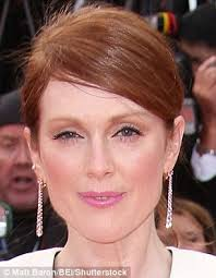 hair style for 55 year old julianne moore sports silvery hair do as she dresses for new film