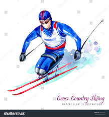 watercolor illustration crosscountry skiing disability snow stock