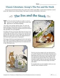 printable comprehension stories aesop s the fox and the stork literature comprehension set