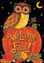 fall welcome owl on pumpkin garden flag autumn halloween 12