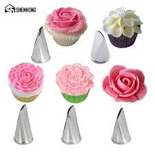 flower decorating tips shenhong 5pcs set rose flower icing piping tips stainless steel