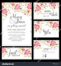 wedding invitation rsvp date wedding invitation thank you card save stock vector 143640256