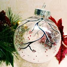 snowy berry branch clear sparkle ornament painted i m