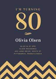 80th birthday invitation templates canva