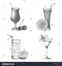 vintage cocktail set vector set vintage cocktails berries fruits stock vector 192064643