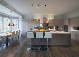 Tom Dixon Copper Pendant Light Lava Floor Kitchen Contemporary With White Dining Chairs
