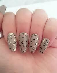 leopard print glue on false nails nail art nail designs