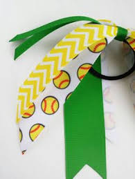 softball ribbon navy and white softball ponytail bow choose your sport team hair