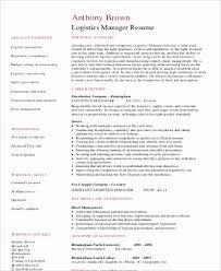 resume format for logistics manager best of sample resume