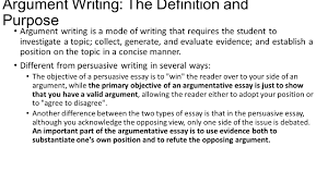 Format For A Persuasive Essay Argument Writing The Definition And Purpose Argument Writing Is A