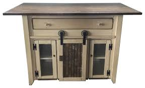 rustic pine kitchen island with sliding barn door and large drawer
