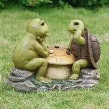 grassit frog turtle checkers large lawn ornament