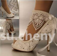 wedding shoes ankle 3 4 heel satin white ivory lace ribbon ankle open toe wedding