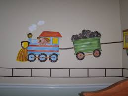 childrens painted wall murals cathie s murals childrens murals train whimsical engine with dog conductor