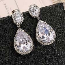 heavy diamond earrings new luxury zircon big waterdrop heavy drop earrings sparkling