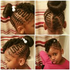 howtododoughnut plait in hair little girls freestyle braids with curly bang and donut bun