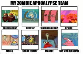 Zombie Team Meme - my zombie apocalypse team team leader brawler weapons expert