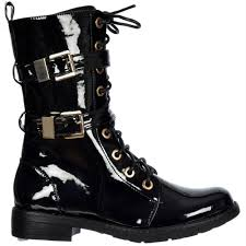 heeled biker boots shoekandi military ankle biker boot lace up and double buckle