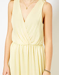 love maxi dress with sheer overlay in yellow lyst