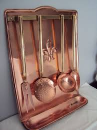 ustensile de cuisine en cuivre ancien porte ustensiles de cuisine en cuivre complet de collection