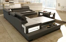 White Leather Sectional Sofas Divani Casa 5081 Grey And White Leather Sectional Sofa W Coffee Table