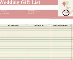 gift list wedding gift list template sheet template