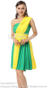 2017 changeable green yellow empire waist sleeveless short