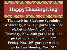thanksgiving garbage schedule town of tazewell
