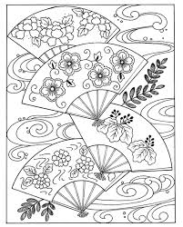 japanese hand fan japan coloring pages for adults justcolor