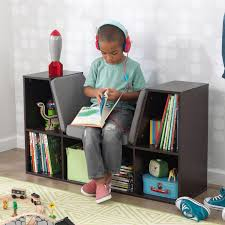 kidkraft bookcase with reading nook espresso toys