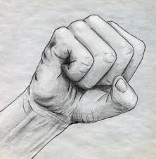 pencil drawn clinched fist stock photography image 30389082