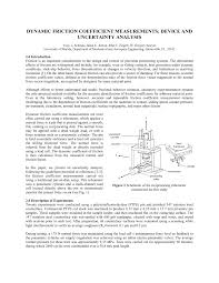 Friction Coefficient Table by Dynamic Friction Coefficient Measurements Device And Uncertainty