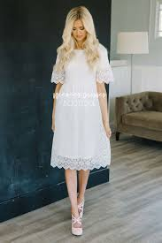 white dresses pretty white scallop lace modest dress best online modest