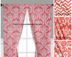 Chevron Pattern Curtain Panels Coral Curtains Etsy