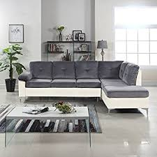 amazon com modern tufted brush microfiber sectional sofa large l